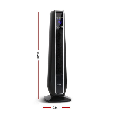 Devanti Electric Ceramic Tower Fan Heater Portable Oscillating Remote Control 2400W Black