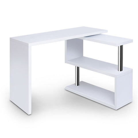 Artiss Rotary Corner Desk with Bookshelf - White