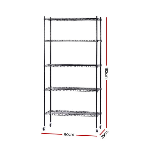 90cm 5-Tier Wire Shelf Shelving Unit Kithchen Storage Trolley Black