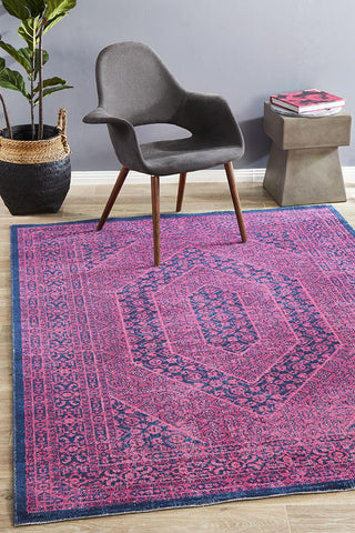 Eternal Whisper Magenta Vintage Cotton Blend Rectangular Rug
