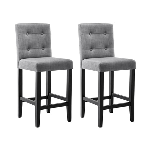 Artiss Set of 2 Provincial Style Bar Stools - Grey