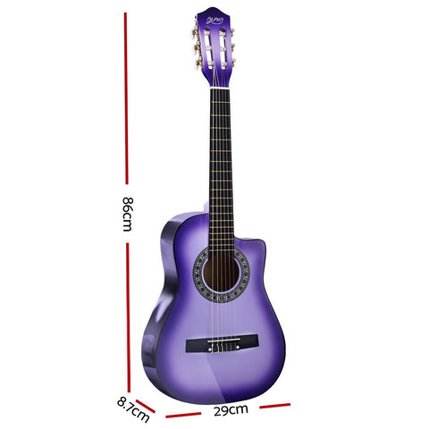 Alpha 34 Inch Guitar Classical Acoustic Cutaway Wooden Ideal Kids Gift Children 1/2 Size Purple""