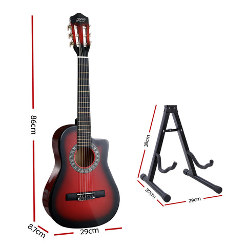 Alpha 34 Inch Guitar Classical Acoustic Cutaway Wooden Ideal Kids Gift Children 1/2 Size Red with Capo Tuner""