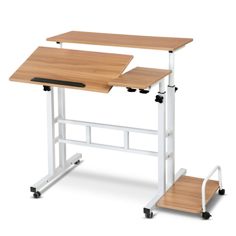 Mobile Twin Laptop Desk - Light Wood