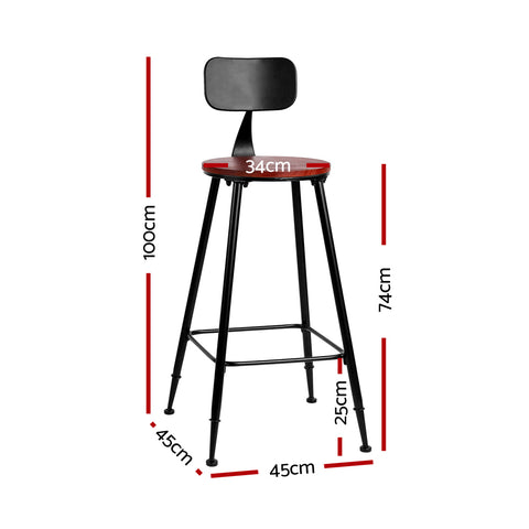 Set of 2 Artiss Bar Stools Pinewood Metal - Black and Wood