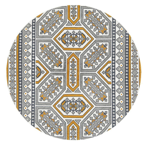 Lunar Grey and Gold Bohemian Cotton Round Rug