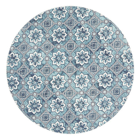 Lunar Light Blue Contemporary Cotton Round Rug
