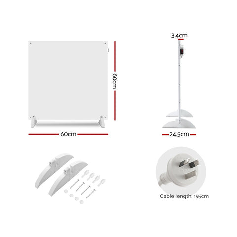 Devanti 450W Metal Wall Mount Panel Heater Infrared Slimline Portable Caravan White