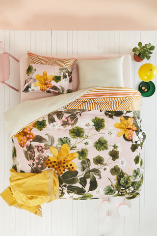 Botanical Flower Green Cotton Sateen Quilt Cover Set