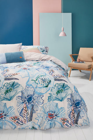 Oilily Rose Dust Blue Green Cotton Sateen Quilt Cover Set