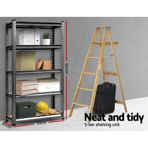 Giantz 2x0.7M Steel Warehouse Racking Rack Shelving Storage Garage Shelves Shelf