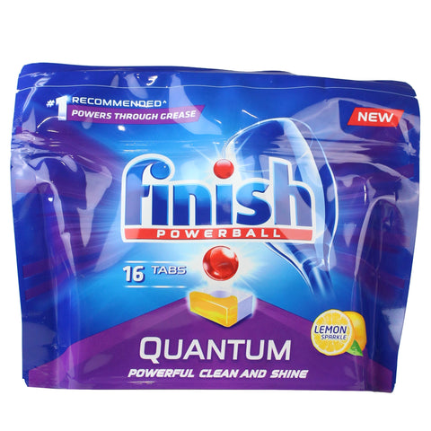 8 x Finish Pk16 Quantum Powerball Dishwashing Tablets Lemon Sparkle (128 tablets)