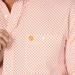 Wrangler Men's George Strait Orange Geo Print Long Sleeve Shirt - MGSGO755