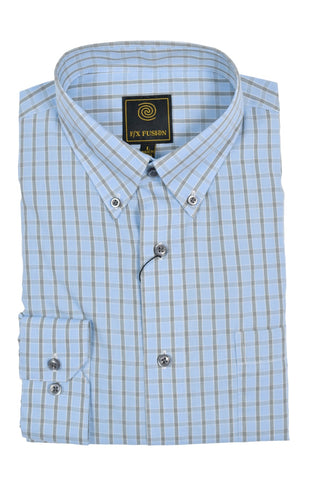 F/X Fusion Blue Melange Short Sleeve Woven Button Down Shirt - D1220B