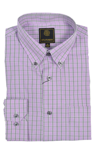 F/X Fusion Purple Melange Short Sleeve Woven Button Down Shirt - D1220P