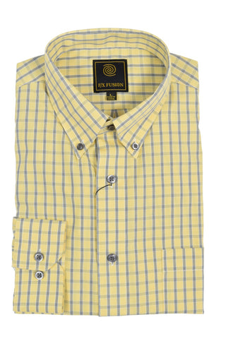 F/X Fusion Yellow Melange Short Sleeve Woven Button Down Shirt - D1220Y