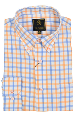 F/X Fusion Orange / Blue Textured Check Short Sleeve Woven Button Down Shirt - D1221
