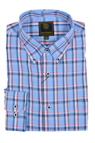 F/X Fusion Blue / Red Plaid Short Sleeve Woven Button Down Shirt - D1222
