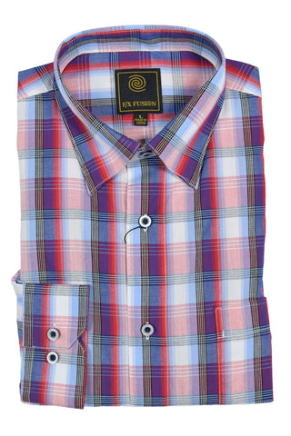 F/X Fusion Red / Blue Textured Plaid Short Sleeve Woven Button Down Shirt - D1223