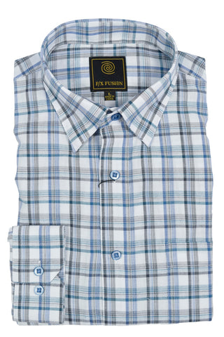 F/X Fusion Teal / White Plaid Short Sleeve Woven Button Down Shirt - D1224