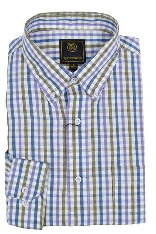 F/X Fusion Purple / Tan / Blue Mini Multi Check Short Sleeve Woven Button Down Shirt - D1226