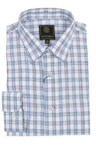 F/X Fusion Purple / Navy Multi Plaid Short Sleeve Woven Button Down Shirt - D1227