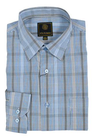 F/X Fusion Grey / Blue Multi Check Short Sleeve Woven Button Down Shirt - D1228