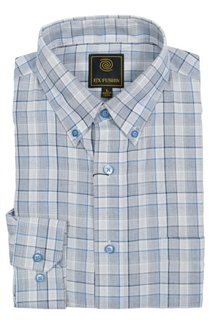 F/X Fusion Grey / Blue Textured Check Short Sleeve Woven Button Down Shirt - D1230