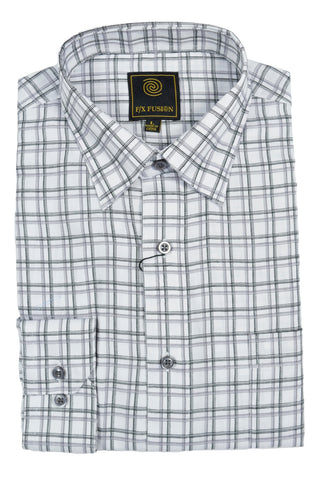 F/X Fusion White / Grey Multi Grid Short Sleeve Woven Button Down Shirt - D1231