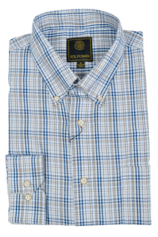 F/X Fusion Navy / Tan Multi Check Short Sleeve Woven Button Down Shirt - D1234