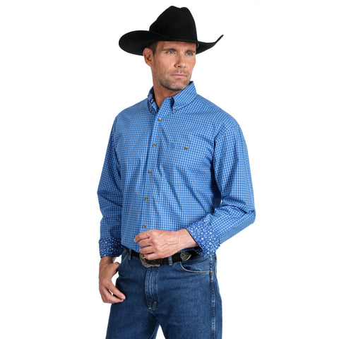 Wrangler Men's George Strait Big and Tall Blue/White Plaid Long Sleeve Shirt - MGSB665
