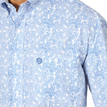 Wrangler Men's George Strait Blue Paisley Long Sleeve Shirt - MGSB694