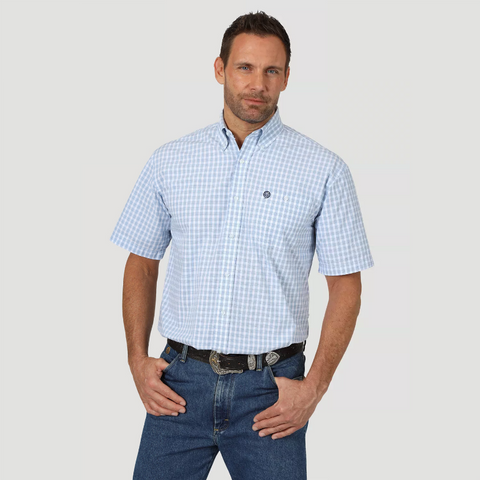 Wrangler Men's George Strait Blue / White Plaid Short Sleeve Shirt - MGSB745