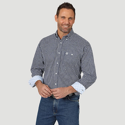 Wrangler Men's George Strait Navy Print Long Sleeve Shirt - MGSB746