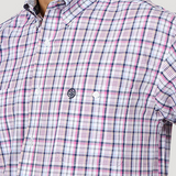 Wrangler Men's George Strait Magenta / Navy Plaid Short Sleeve Shirt - MGSB747