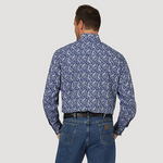 Wrangler Men's George Strait Troubadour Navy / White Paisley Long Sleeve Shirt - MGSB753
