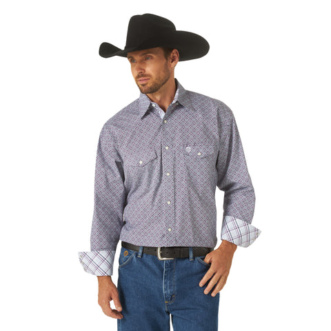 Wrangler Men's George Strait Troubadour Purple/Blue Geo Print Long Sleeve Shirt - MGSB805