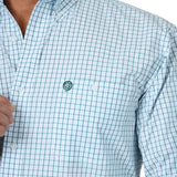 Wrangler Men's George Strait Evergreen / White Plaid Long Sleeve Shirt - MGSG702
