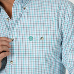 Wrangler Men's George Strait Emerald / White Plaid Long Sleeve Shirt - MGSG737
