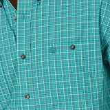 Wrangler Men's George Strait Emerald Plaid Short Sleeve Shirt - MGSG741