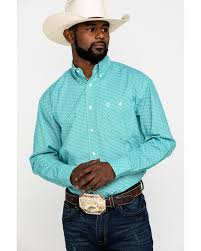 Wrangler Men's George Strait Emerald / White Geo Print Long Sleeve Shirt - MGSG742