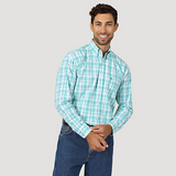 Wrangler Men's George Strait Emerald Multi Plaid Long Sleeve Shirt - MGSG743