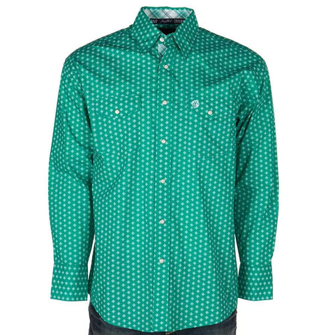 Wrangler Men's George Strait Troubadour Emerald / White Geo Print Long Sleeve Shirt - MGSG744