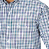 Wrangler Men's George Strait Big and Tall Purple / Black Plaid Long Sleeve Shirt - MGSP714