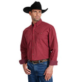 Wrangler Men's George Strait Big and Tall Burgundy Plaid Long Sleeve Shirt - MGSR677