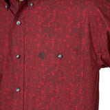 Wrangler Men's George Strait Red / Black Paisley Long Sleeve Shirt - MGSR721