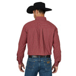 Wrangler Men's George Strait Red Plaid Long Sleeve Shirt - MGSR723