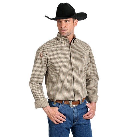 Wrangler Men's George Strait Big and Tall Tan / Brown Plaid Long Sleeve Shirt - MGST672
