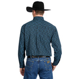 Wrangler Men's George Strait Big and Tall Black / Turquoise Paisley Long Sleeve Shirt - MGSX672