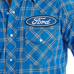 Wrangler Men's Big & Tall FORD Logo Blue / White Plaid Long Sleeve Western Shirt - MP1321M